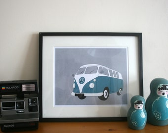 VW Camper Van Illustration Art Print Home Decor