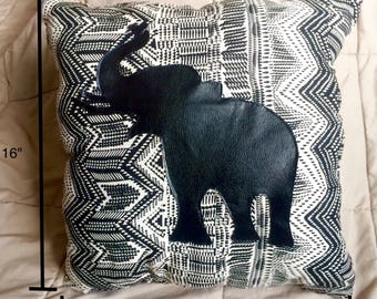 African Inspired Two-Sided Elephant Silhouette Pillow