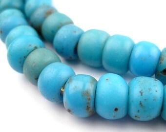 Antique Venetian Blue Padre African Trade Beads Strand (PADR-RND-BLU-206)
