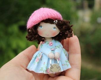 Small art fabric dollhouse accessory miniature OOAK doll, collectible doll, mini rag doll, tiny cloth art doll, textile pocket doll