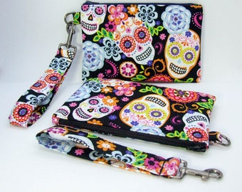 Colorful Sugar Skull wristlet clutch purse with detachable wrist strap