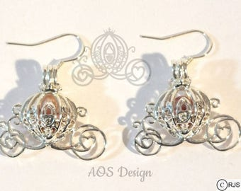 Pick A Pearl Cage Silver Plated Cinderella Carriage Earrings PINK Bead Pearl Pumpkin Locket Charm