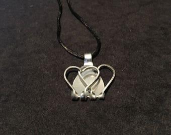 Fork Art silverware jewelry heart pendant