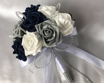 Artificial Wedding Flowers, Brides, Bridesmaids, Flower girls Posy Bouquet with Navy Blue, Grey and White Roses with crystal loops