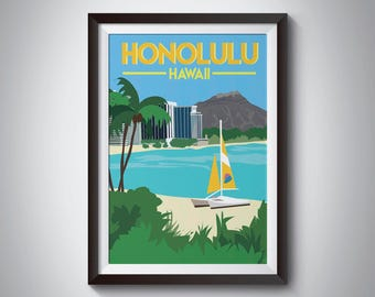 Honolulu | Hawaii | Travel Poster | Instant Download