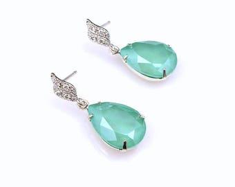 bridal earrings bridesmaid gift prom party fancy rhinestone teardrop swarovski shiny crystal mint green silver frame rhodium cubic post