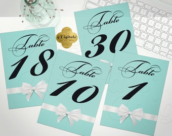 Breakfast at Tiffanys Party, Blue Table Numbers 1-30, INSTANT DOWNLOAD Size: 5x7""