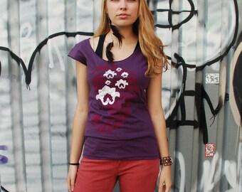 M,L - Yoga top, graphic tee for women, womans tops tshirts, silkscreen womens t-shirt, purple tshirt, paisley lotus design