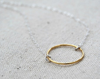 choate... mixed metal eternity circle necklace / 14k gold filled circle & sterling silver chain necklace / infinity / eternal love / karma