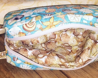 Seashell cosmetic toiletry bag