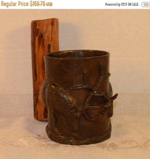 Delayed Shipping FIGHTING ELK Ltd. Ed. Bronze Sculpted Mug by Carl WAGNER 1977 Vintage Rare & Rustic Stags Bronze Sculpted Mug with Wood Han