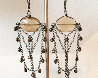 Champagne quartz chandelier earrings