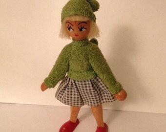 ON SALE Vintage Wood Norwegian Norway Souvenir Hand-Painted Elf Elvish Doll 1950's 1960's Old