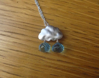 Rain Cloud Silver Necklace with blue gemstone