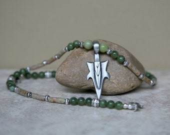 Men's Fern Green and Tan Autumn and Saguaro Jasper Antiqued Pewter Arrow Pendant Necklace