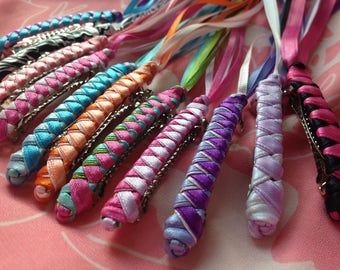 Braided Ribbon Barrettes / Party Pack of 6 YOUR CHOICE of Any Color Combos