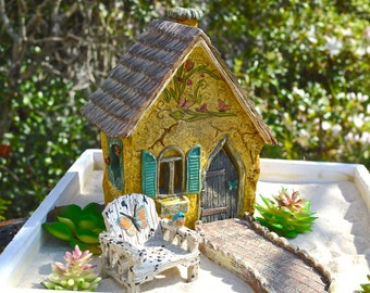 Fairy Garden Kit ~ Starter Set ~ Butterfly Cottage + Butterfly Chair + Walkway ~ Wood Planter Option or Fairy Option ~ Plants NOT INCLUDED
