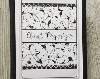 Hair Stylist Client Organizer - Black & White Swirls Design