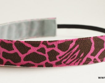 Pink, Brown, Black Animal Print Geometric Fabric Headband, Non Slip Headband (Non Slip Velvet Lining)