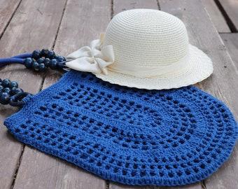 Royal Blue Crochet cotton bag,tote bag,handmade crochet handbag,beach bag,Summer bag with wooden handles,bohemian Gift idea,birthday gift