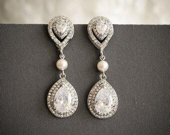 Wedding Earrings, Chandelier Bridal Earrings, Art Deco Statement Teardrop Dangle Earrings, Swarovski Pearl and Rhinestone Earrings, ELSA