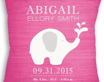 Elephant Love - Custom Baby Girl or Boy Name Throw Pillow - Nursery - Birth Announcement - Baby Boy or Girl Nursery - Newborn Gift