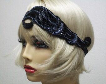 Flapper Headband, Gatsby Headband, Flapper Headpiece, Great Gatsby, Beaded Headband, Art Deco headband, 1920s Hair Accessory