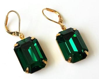 Emerald Crystal Earrings Swarovski Emerald Green Earrings Emerald Rhinestone Earrings Green and Gold Drop Earrings Wedding Jewelry