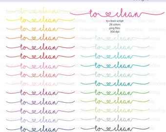To Clean Script Icon Digital Clipart in Rainbow Colors - Instant download PNG files