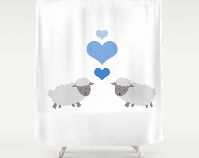 Sheep Shower Curtain - Lamb Shower Curtain - Lamb/Sheep Kisses - Bathroom Decor  - Made to Order