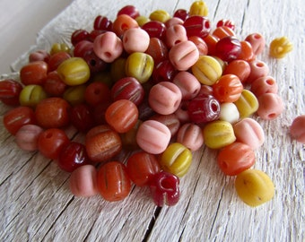 Orphan rustic lampwork bead, Round melon glass, matte glossy mix no 1 destash  beads, Indonesia  7 to 10mm (35 beads , 12 inches )