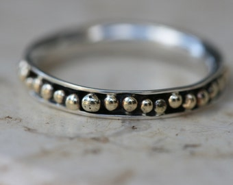 Tiny Silver Ring, Silver Ring, Handmade Rings,  Silver and 14K Gold Ring, Delicate Ring, Stackable Ring,