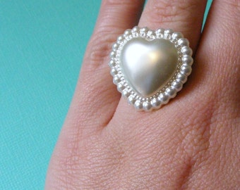Valentines Day White Heart Ring - Valentine Gift for Friend -  white puffed heart - kitschy ring - vintage heart cabochon