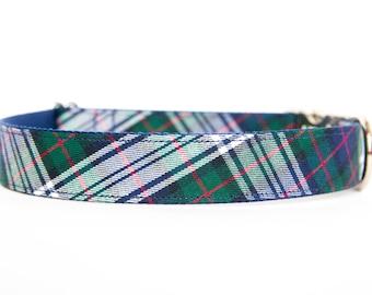 Plaid Christmas Dog Collar - Navy Tartan