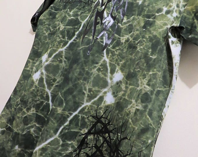 GRIMES green marble T-shirt with heavymetal font