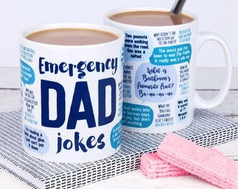 Funny Dad Mug: Emergency Dad Jokes - dad birthday gift - funny gift, gift for dad, dad mug, dad jokes mug, fathers day gift for dad