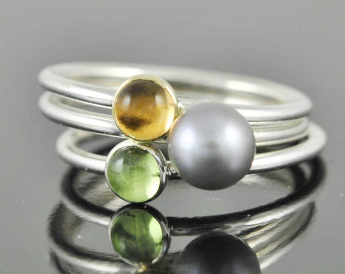 Grey pearl ring, gemstone ring, stacking ring, june birthstone ring, bridesmaid gift, best friend ring, personalized ring