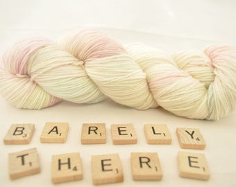 """Hand-dyed yarn, """"Barely There"""" variegated, soft and squishy yarn. Great for socks or shawls. 80/20 Superwash wool/Nylon"""