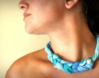 Pastel blue vintage scarf necklace - spring fabric jewelry