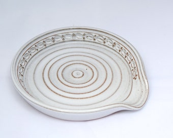 Spoon Rest in Whitewash / Cream / White - Stoneware Ceramic Pottery