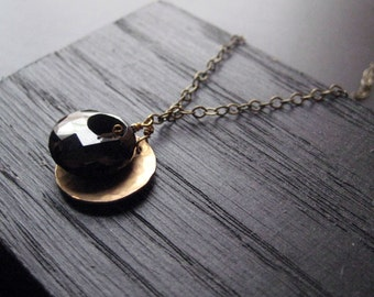 Spinel and Brass Charm Necklace