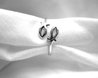 Sterling silver Christian fish thumb ring-adjustable
