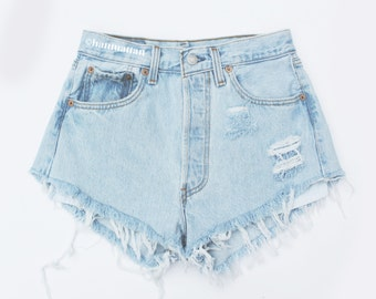 "ALL SIZES ""PLAINO"" Vintage Levi high-waisted denim shorts light blue distressed frayed jeans"