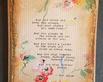 Forever Young Art Card with Bob Dylan Quote