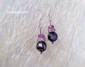 Ruby earrings Tiny earrings July birthstone earrings Ruby birthstone earrings Delicate earrings Agate earrings Gemstone earrings