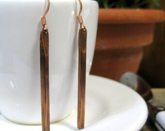 Oxidized Copper Rod Earrings Copper Bar Earrings with Patina - Simple, Clean Lines
