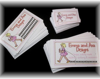 Custom Labels, Hang Tags and Business cards - 100 Digital or Satin Printed Clothing Labels, 100  Hang Tags - Business Cards - Full Color