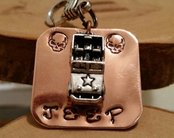 Jeep Skulls square hand stamped copper charm key fob keychain accessory OIIIIIIIO