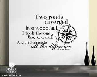Road Less Traveled Wall Decals Quote (Robert Frost) - Vinyl Text Wall Words Stickers Art Custom Home Decor