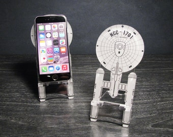 Star Trek Enterprise NCC-1701 Original Series Smart Phone Stand - iPhone 6, Plus, iPhone 5 Android, Samsung Galaxy s3 s4 s5 - Desk Accessory